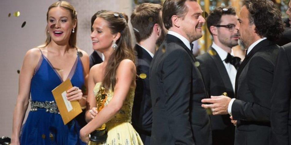 Die Oscar-Gewinner Brie Larson, Alicia Vikander, Leonardo DiCaprio und Alejandro Gonzalez Inarritu (l-r).