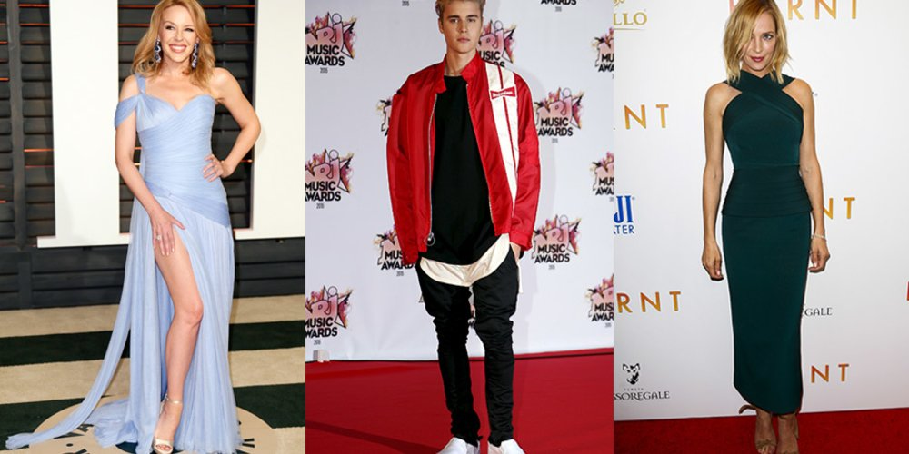 Justin Bieber, Uma Thurman, Kylie Minogue