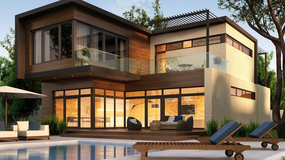 Beautiful modern house with garden, outdoor