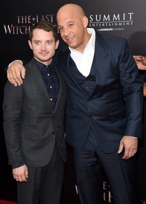 "NEW YORK, NY - OCTOBER 13:  Actors Elijah Wood (L) and Vin Diesel attend the New York premiere of ""The Last Witch Hunter"" at AMC Loews Lincoln Square on October 13, 2015 in New York City.  (Photo by Jamie McCarthy/Getty Images)"