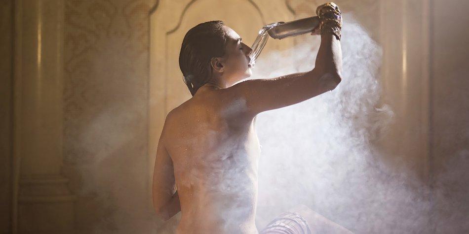 Woman bathed in turkish bath