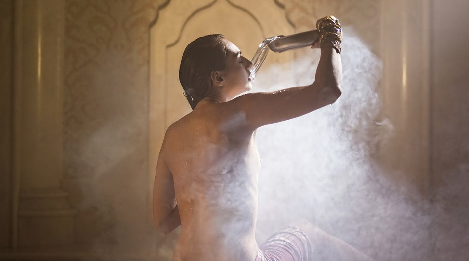 Woman bathed in turkish bath