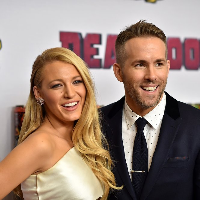 "NEW YORK, NY - FEBRUARY 08:  Actors Blake Lively (L) and Ryan Reynolds attend the ""Deadpool"" fan event at AMC Empire Theatre on February 8, 2016 in New York City.  (Photo by Dimitrios Kambouris/Getty Images)"