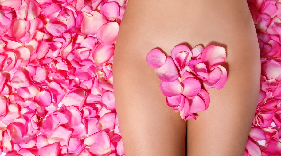 Petals of Pink Roses on woman's body. Concept of Waxing. Bikini Zone