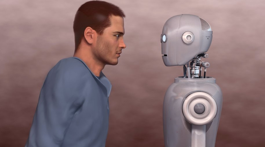Man and robot. The model that appear in the image are fictional 3D character created by the author and are not inspired or copied in any real person.