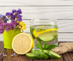 drink with lemon cucumber mint and ginger