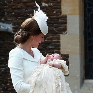 KING'S LYNN, ENGLAND - JULY 05: Catherine, Duchess of Cambridge and Princess Charlotte of Cambridge arrive at the Church of St Mary Magdalene on the Sandringham Estate for the Christening of Princess Charlotte of Cambridge on July 5, 2015 in King's Lynn, England. (Photo by Chris Jackson - WPA Pool/Getty Images)