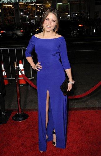 Sophia Bush in einem blauen Kleid.