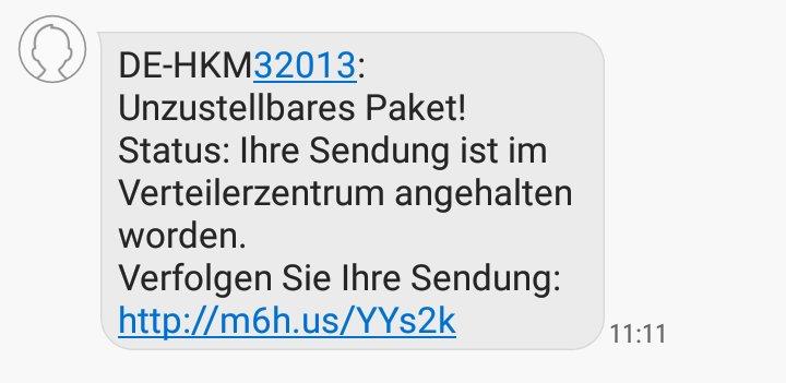 Spam-SMS Unzustellbares Paket