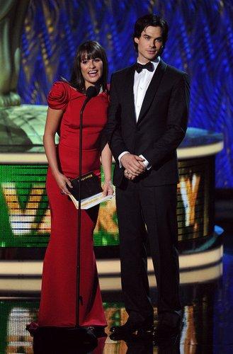 Ian Somerhalder und Lea Michele auf der Bühne.
