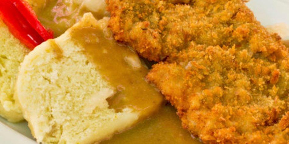 Schnitzelpfanne mit Zwiebelsuppe