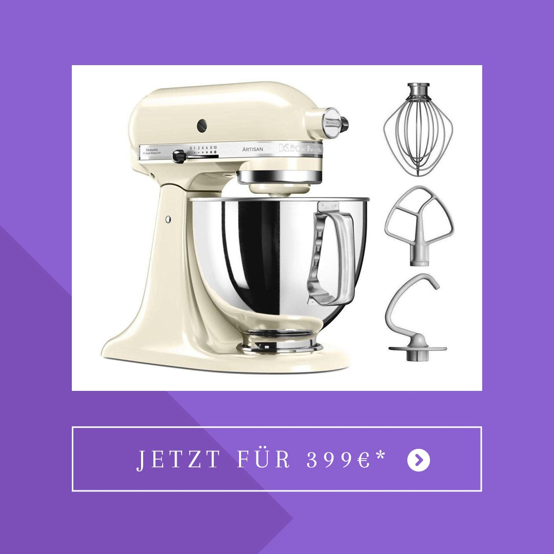 KitchenAid Küchenmaschine Artisan 5KSM125EAC, 300 W, 4,8 l Schüssel, creme