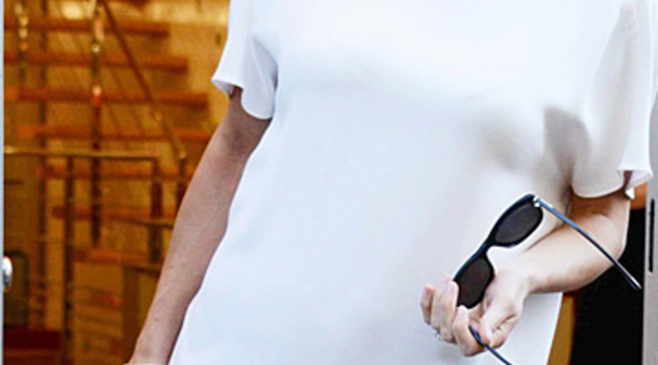 Michelle Hunziker strahlend schön im vierten Monat.