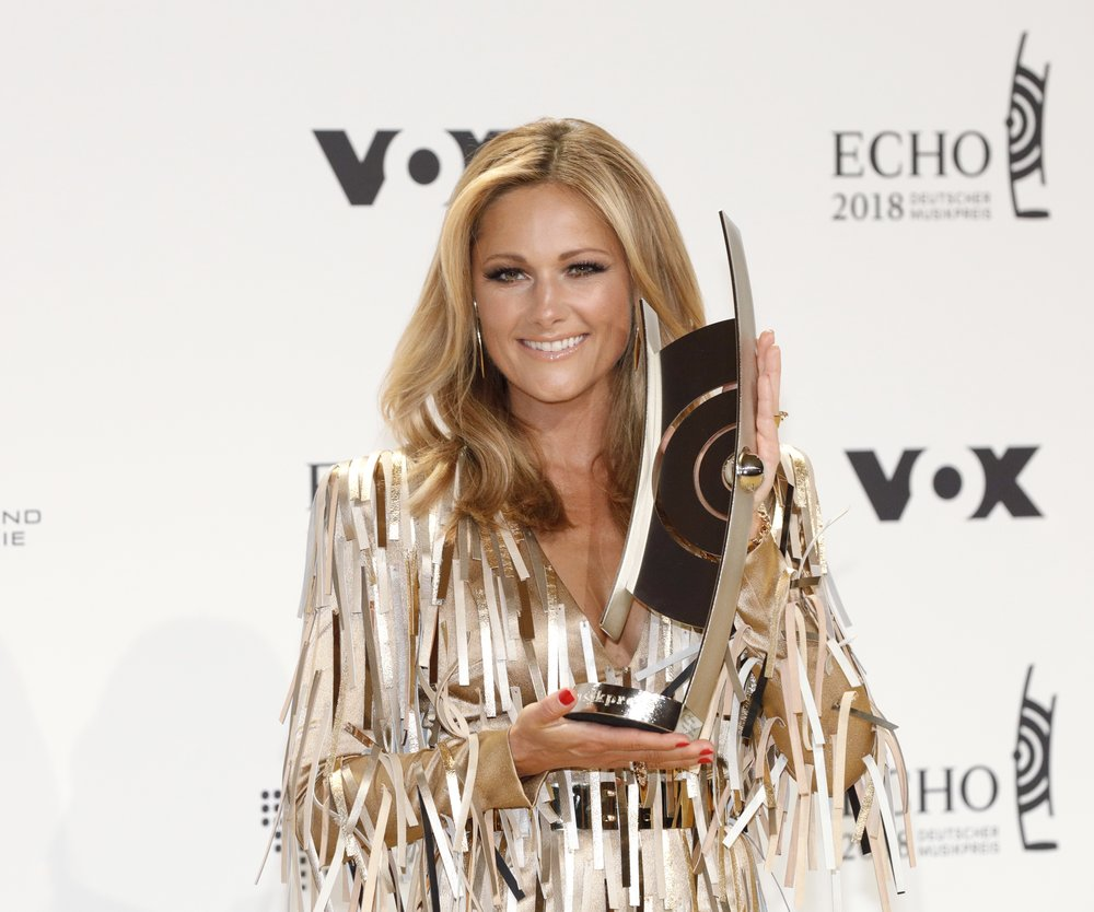 BERLIN, GERMANY - APRIL 12: Helene Fischer poses with her award during the Echo Award winners board at Messe Berlin on April 12, 2018 in Berlin, Germany. (Photo by Isa Foltin/Getty Images)