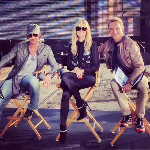 Heidi Klum, Thomas Hayo und Wolfgang Joop bei einem Fotoshooting