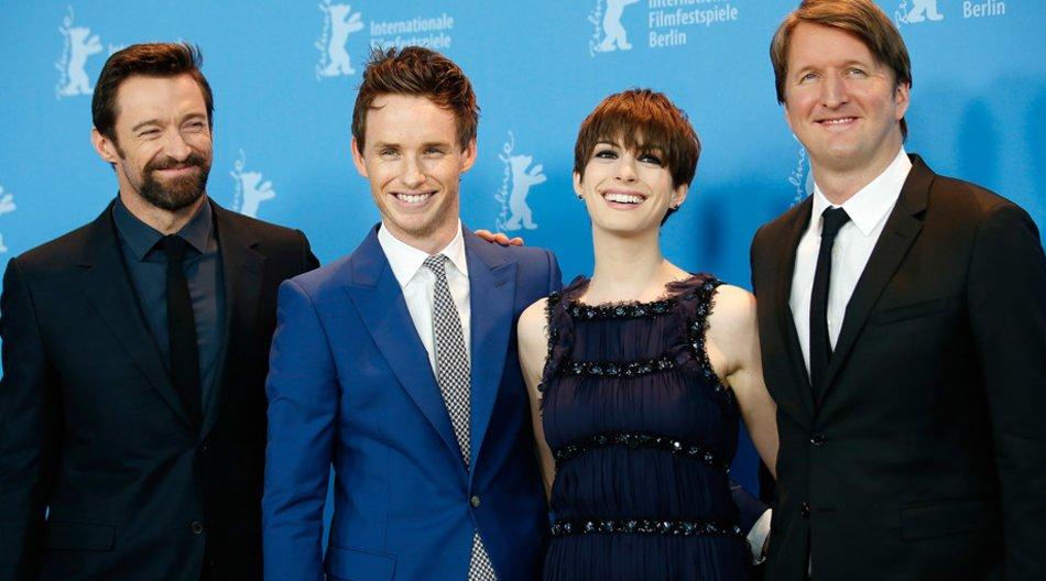 Hugh Jackman, Eddie Redmayne, Anne Hathaway und Tom Hooper auf der Berlinale