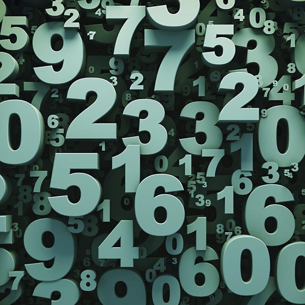 Abstract green 3D numbers background computer generated render