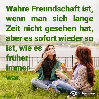 Wahre Freundschaft ist wenn man sich lange Zeit nicht gesehen hat, aber es sofort wieder so ist wie es früher war.