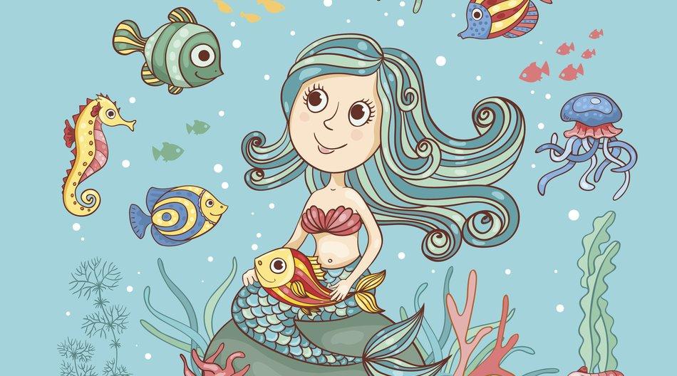 Children cartoon illustration with mermaid. Cute vector card.