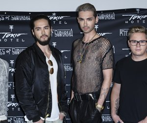 BERLIN, GERMANY - OCTOBER 02: Georg Moritz Hagen Listing, Tom Kaulitz, Bill Kaulitz, Gustav Klaus Wolfgang Schaefer attend the Tokio Hotel Press Conference & Photocall on October 2, 2014 in Berlin, Germany. After a five year break, the new Tokio Hotel record 'Kings Of Suburbia' will be released on October 3. (Photo by Clemens Bilan/Getty Images)