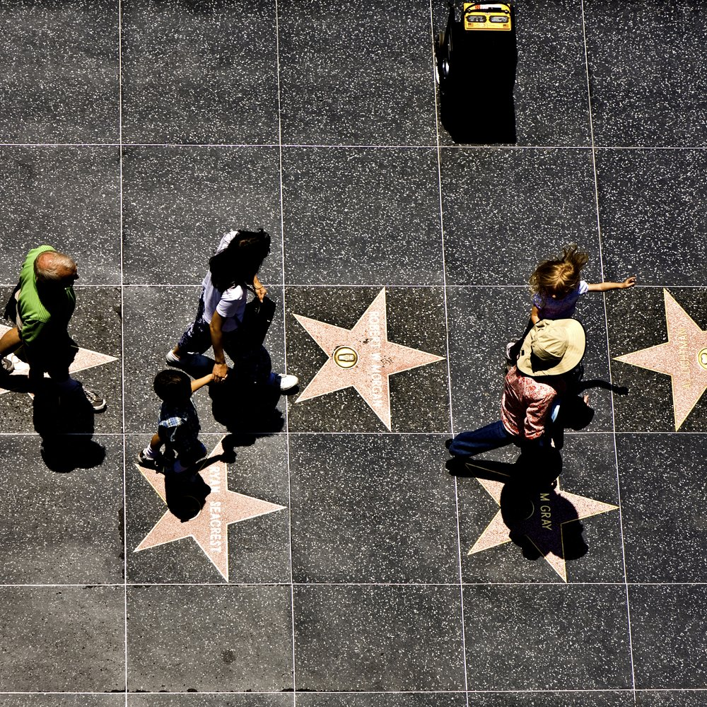 Los Angeles, USA - July 5, 2008: people passing the walk of fame in Hollywood on a sunny day , Los Angeles, USA. There are more than 2000 tiles at the walk of fame to honor the stars.