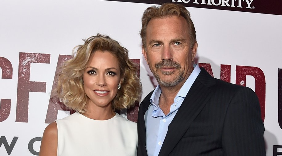Actors Kevin Costner and Christine Baumgartner attend the world premiere of Disney's 'McFarland, USA' at the El Capitan Theatre, February 9, 2015 in Hollywood, California. AFP PHOTO / ROBYN BECK (Photo credit should read ROBYN BECK/AFP/Getty Images)