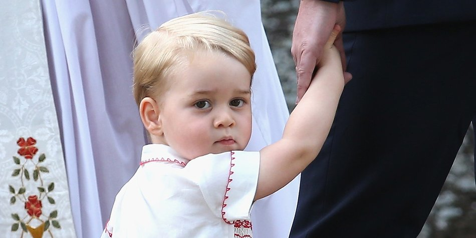 KING'S LYNN, ENGLAND - JULY 05: Prince George of Cambridge leaves the Church of St Mary Magdalene on the Sandringham Estate for the Christening of Princess Charlotte of Cambridge on July 5, 2015 in King's Lynn, England. (Photo by Chris Jackson/Getty Images)