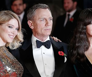 """LONDON, ENGLAND - OCTOBER 26: Lea Seydoux, Daniel Craig and Monica Bellucci attend the Royal Film Performance of """"Spectre""""at Royal Albert Hall on October 26, 2015 in London, England. (Photo by John Phillips/Getty Images)"""