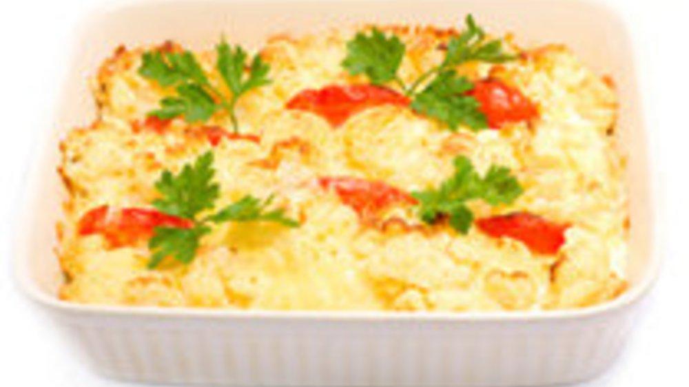 Püreeauflauf mit Tomaten und Mozzarella