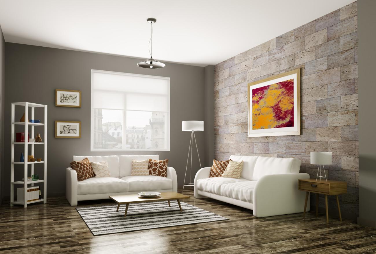 feng shui wohnzimmer kamin graues sofa eckiger kaffeetisch ...