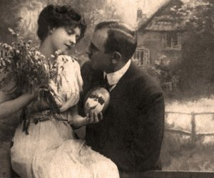 Antique family photo of long ago passed away relatives - circa 1914,Russia.
