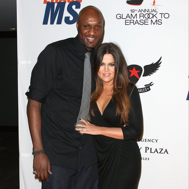 "CENTURY CITY, CA - MAY 18: TV Personalities Lamar Odom (L) and Khole Kardashian attend the 19th Annual Race To Erase MS - ""Glam Rock To Erase MS"" event at the Hyatt Regency Century Plaza on May 18, 2012 in Century City, California.  (Photo by Frederick M. Brown/Getty Images)"