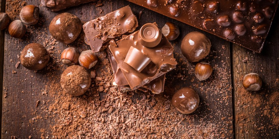 Assorted chocolate pralines and bars with filbert