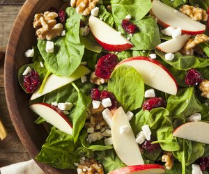 Homemade Autumn Apple Walnut Spinach Salad with Cheese and Cranberries