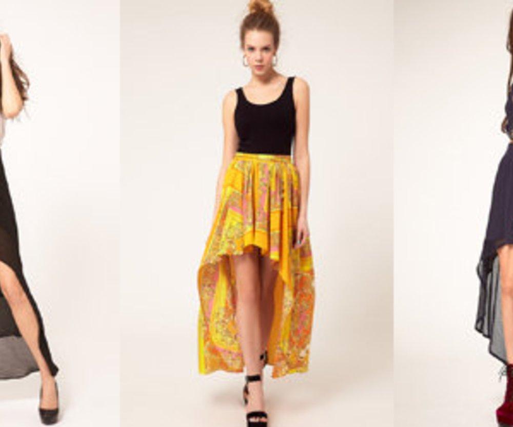 Kleider und Röcke: vorne kurz, hinten lang
