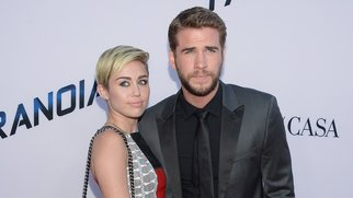 "LOS ANGELES, CA - AUGUST 08:  Miley Cyrus and Liam Hemsworth attend the premiere of Relativity Media's ""Paranoia"" at DGA Theater on August 8, 2013 in Los Angeles, California.  (Photo by Jason Kempin/Getty Images)"