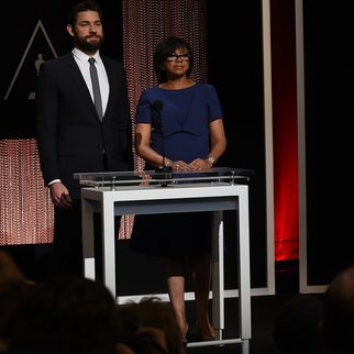 A screen showing the Oscar nominees for Best Actor is announced by actor John Krasinski and Academy President Cheryl Boone Isaacs during the Academy Awards Nominations Announcement at the Samuel Goldwyn Theater in Beverly Hills, California on January 14, 2016.  The 88th Oscars will be held on February 28 at the Dolby Theatre in downtown Hollywood. / AFP / MARK RALSTON (Photo credit should read MARK RALSTON/AFP/Getty Images)