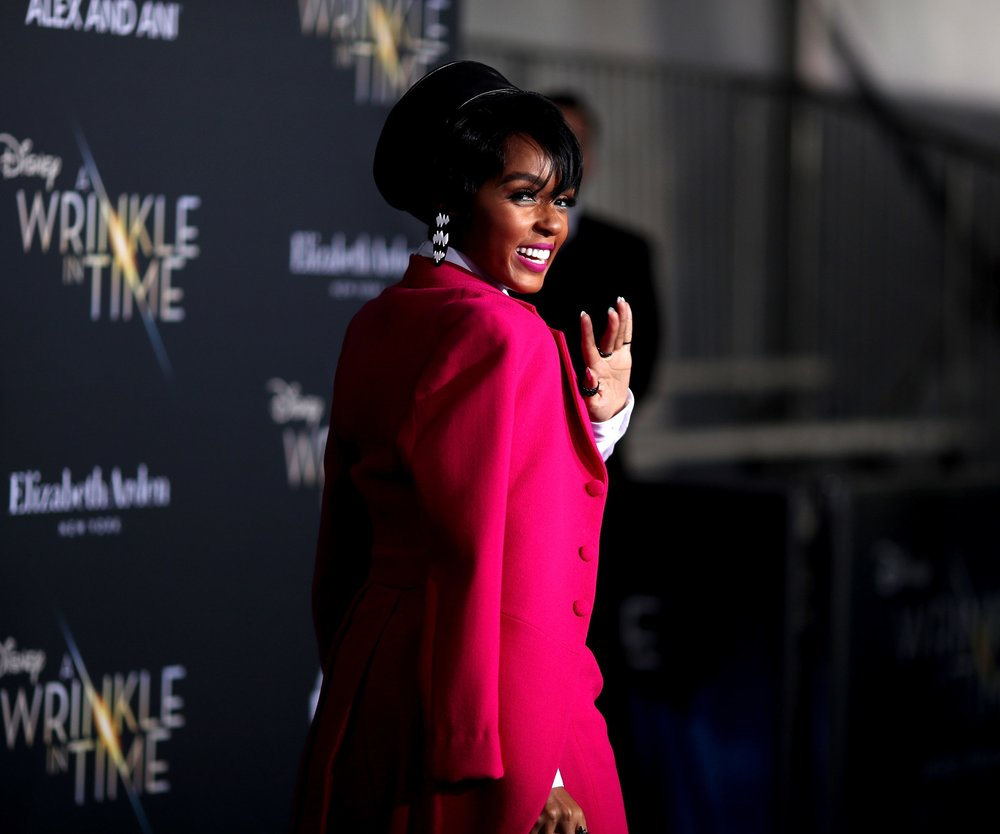 "LOS ANGELES, CA - FEBRUARY 26: Janelle Monae attends the premiere of Disney's ""A Wrinkle In Time"" at the El Capitan Theatre on February 26, 2018 in Los Angeles, California. (Photo by Christopher Polk/Getty Images)"
