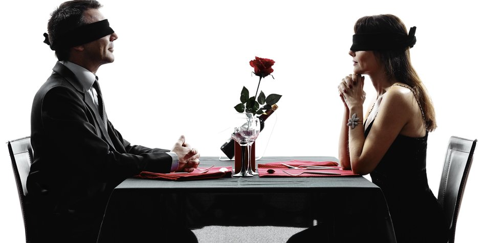 couples lovers dinning blind date in silhouettes on white background