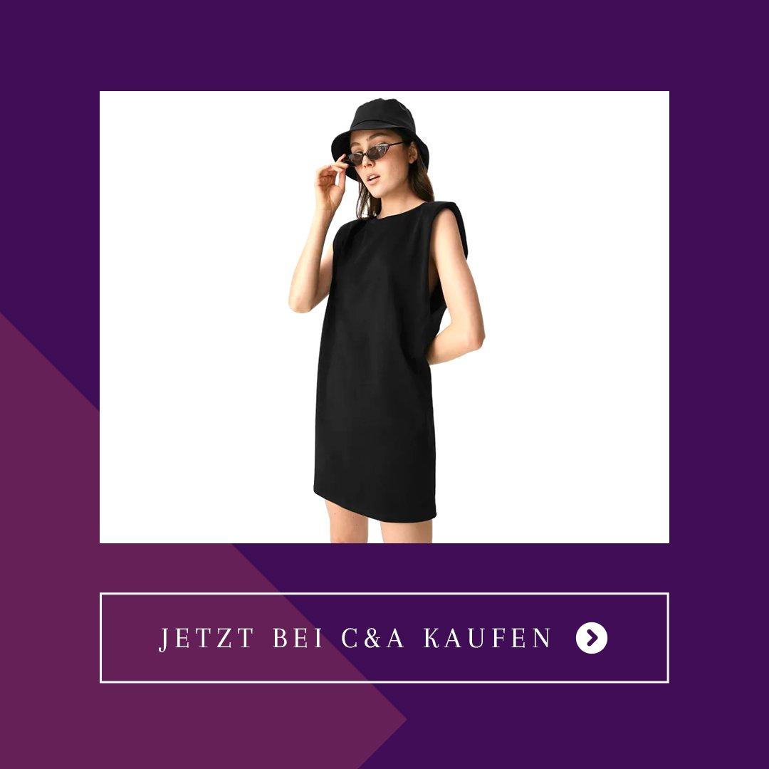 C&A Kleid mit Schulterpolstern schwarz