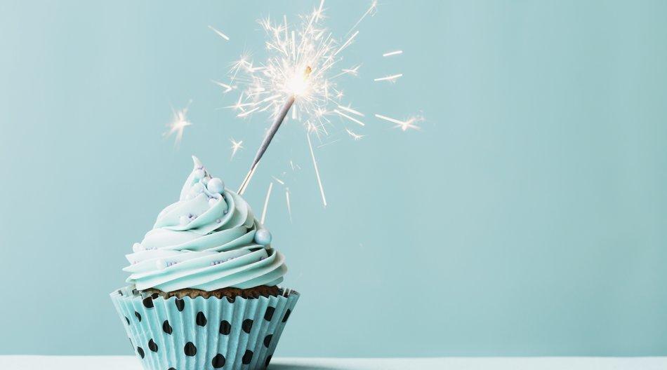 Cupcake mit blauem Frosting