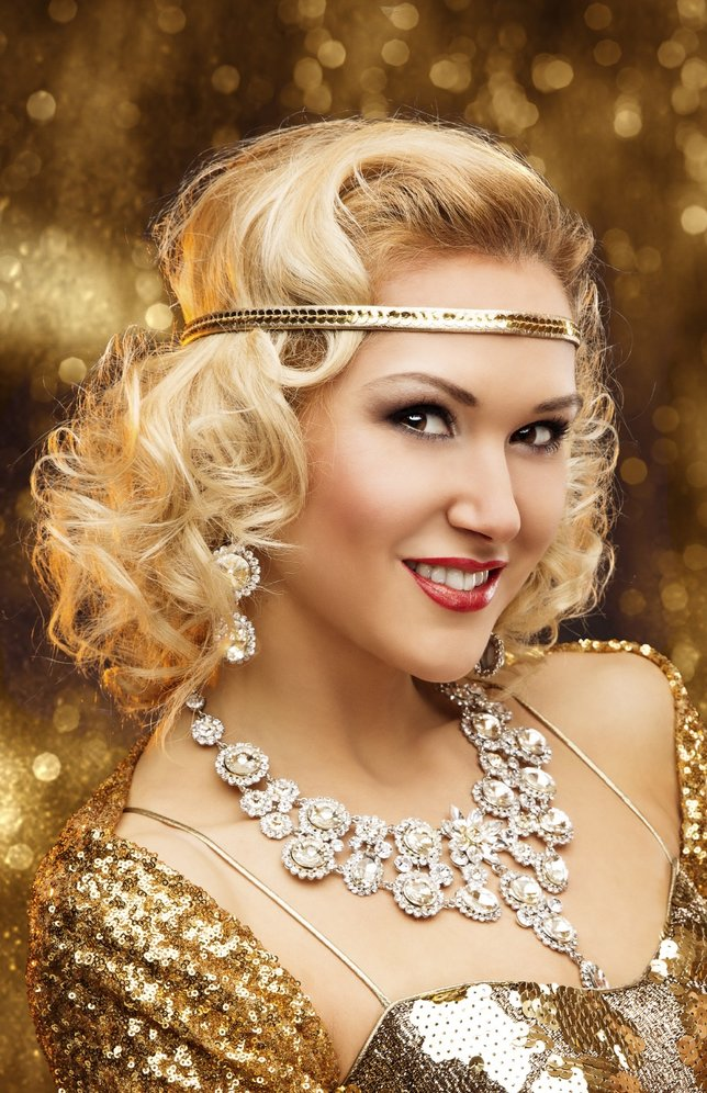Rich Woman with Champagne Glass, Retro Lady Celebrating in Shining Gold Dress, VIP Girl in Golden Gown
