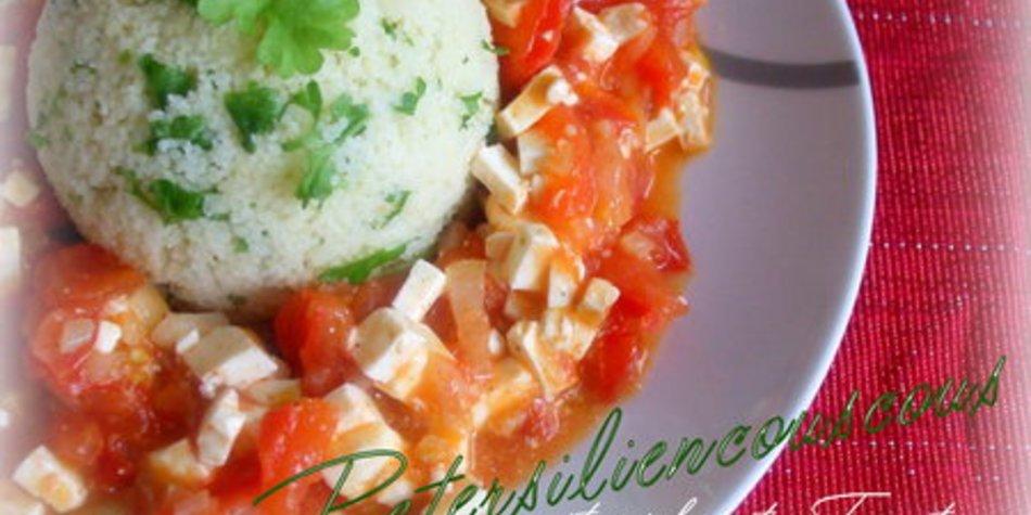 Petersiliencouscous mit geschmorten Tomaten und Fetakäse