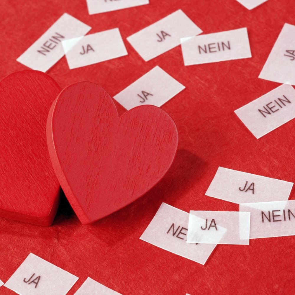 """two red hearts, """"ja"""", """"nein"""" (yes, no in english)"""