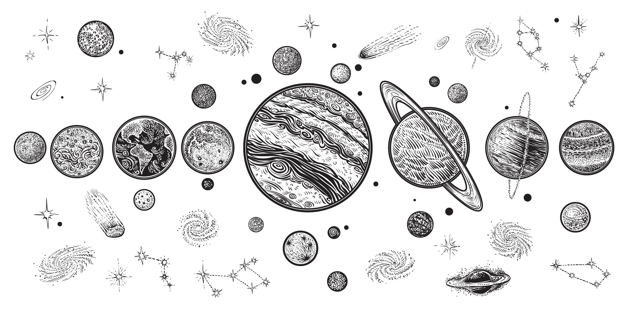 planet tattoo bedeutung der planeten und motiv ideen. Black Bedroom Furniture Sets. Home Design Ideas