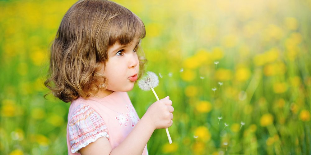 Cute little girl blowing dandelion seeds in the park