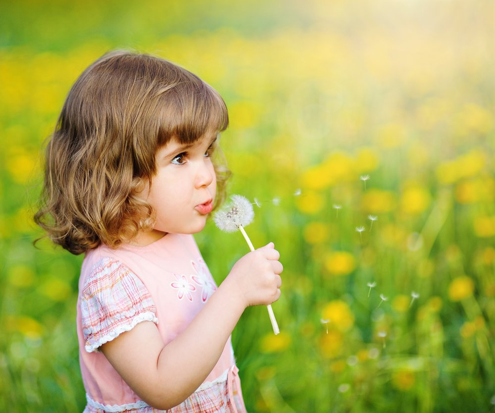 Cute little girl blowing dandelion seeds in the park