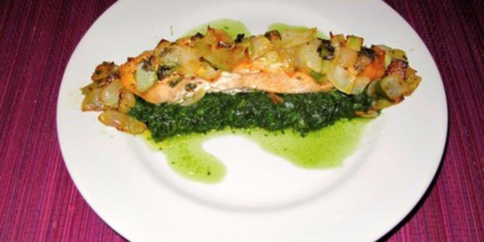 Lachs mit Spinat