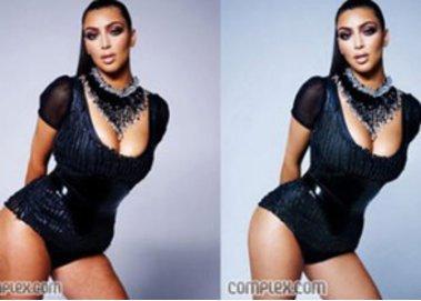 Kim Kardashian in der Fotostrecke des complex Magazins ohne und mit Photshop Bearbeitung