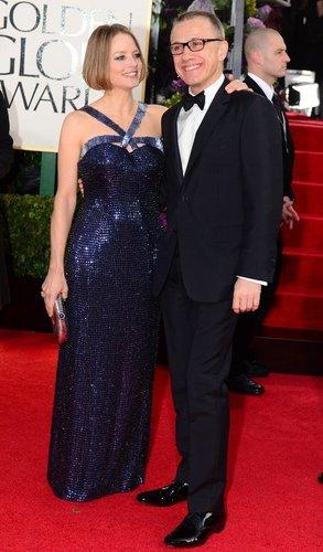 Christoph Waltz und Jodie Foster amüsieren sich auf dem Roten Teppich.